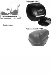 Windschild, Topcase, Gepäckträger