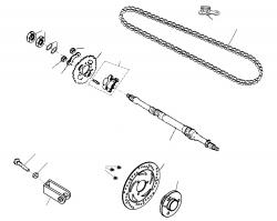 Kette, Hinterachse, Bremsscheibe, Kettenrad