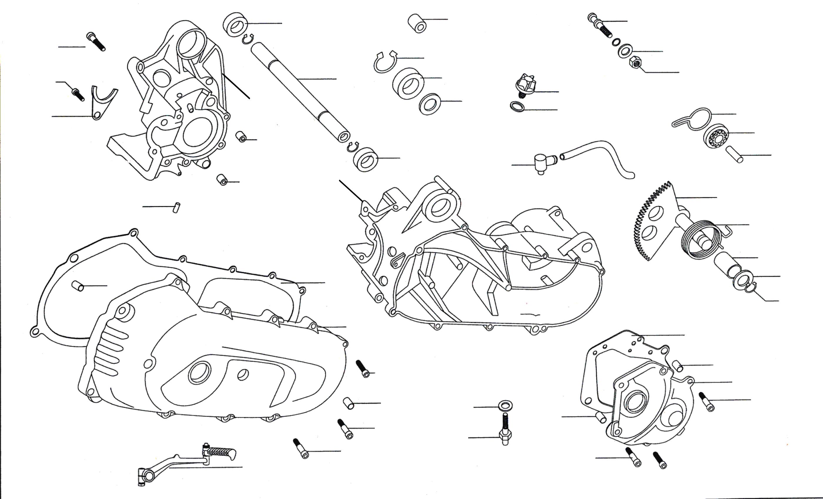 Motorgehäuse, Kickstarter, Deckel
