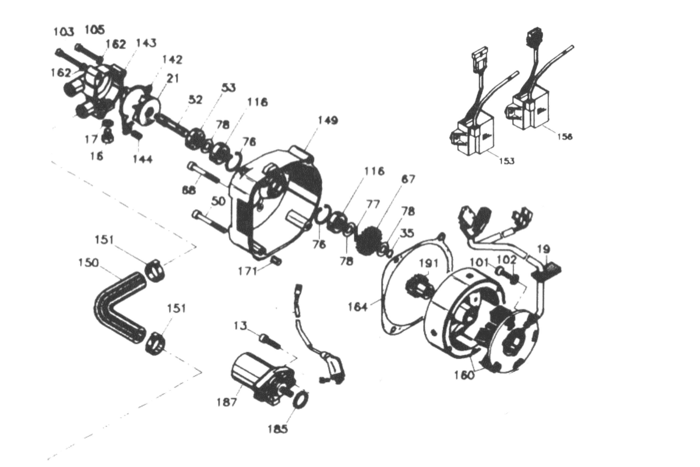 Lichtmaschine, Wasserpumpe, Anlasser, Zündspulen