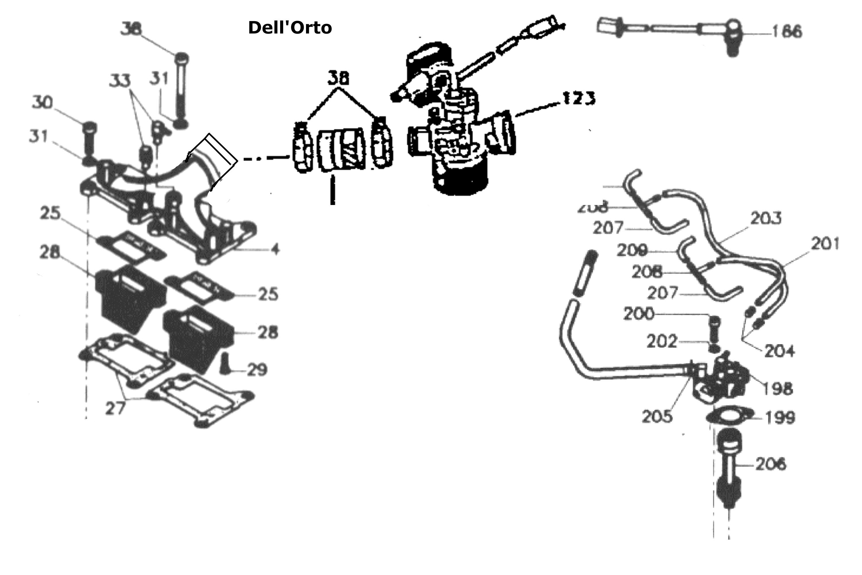 Ölpumpe, Vergaser, Ansaugstutzen Dellorto