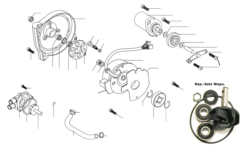 Lichtmaschine, Anlasser, Wasserpumpe, Ölpumpenantrieb