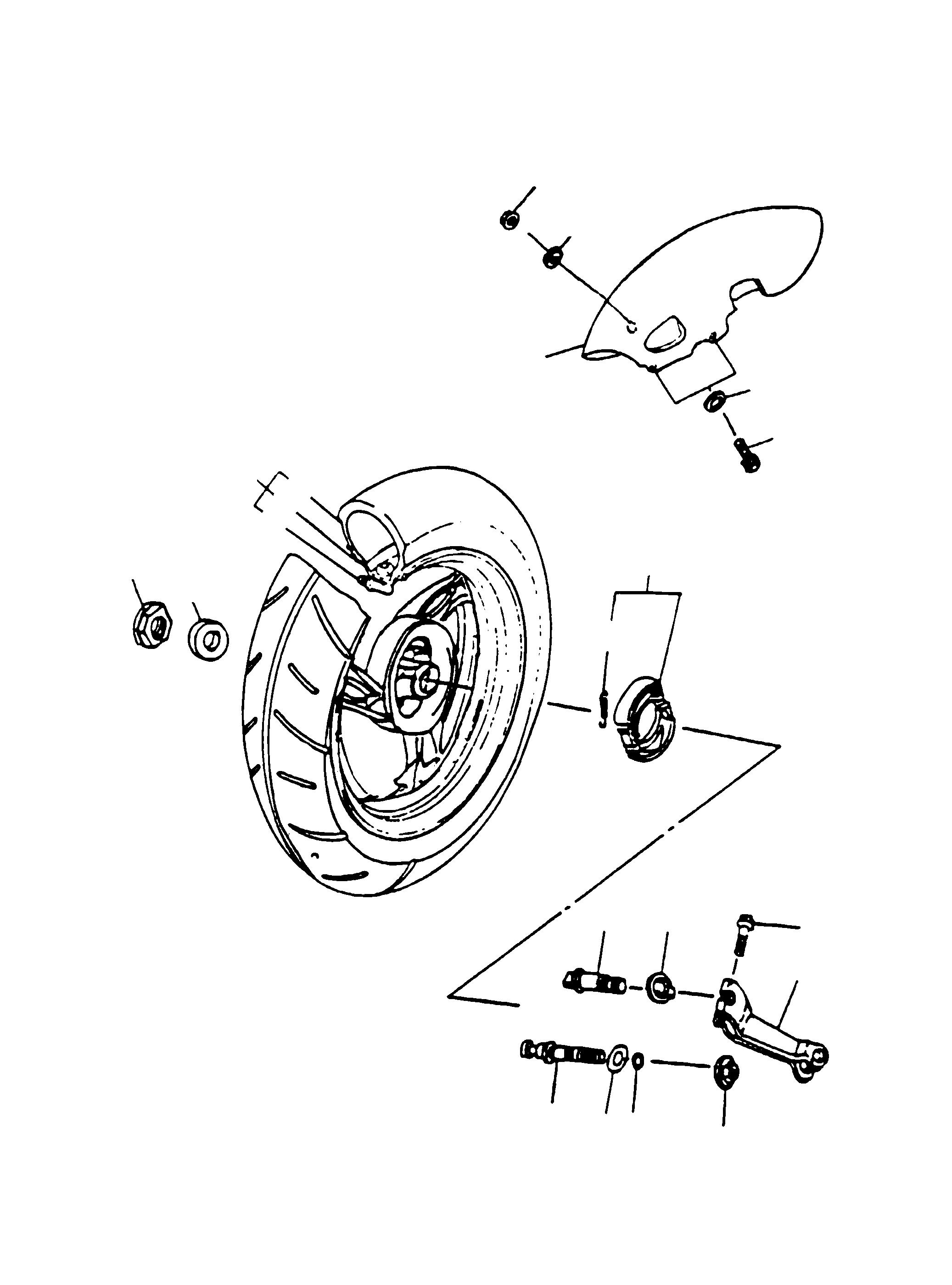 Hinterrad, Kotflügel, Bremse hi.