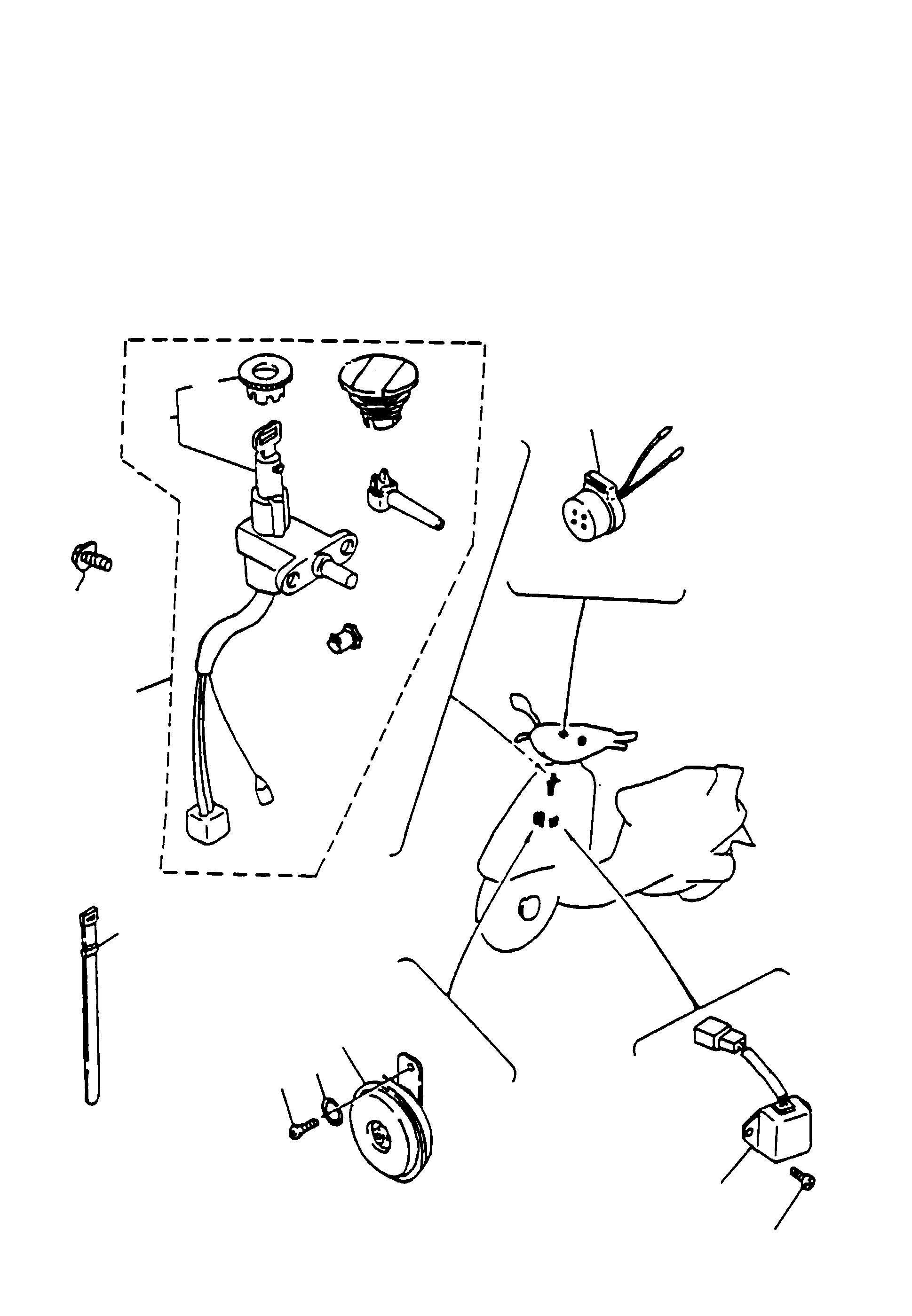 Zündschloß, Hupe, Blinkgeber, Regler