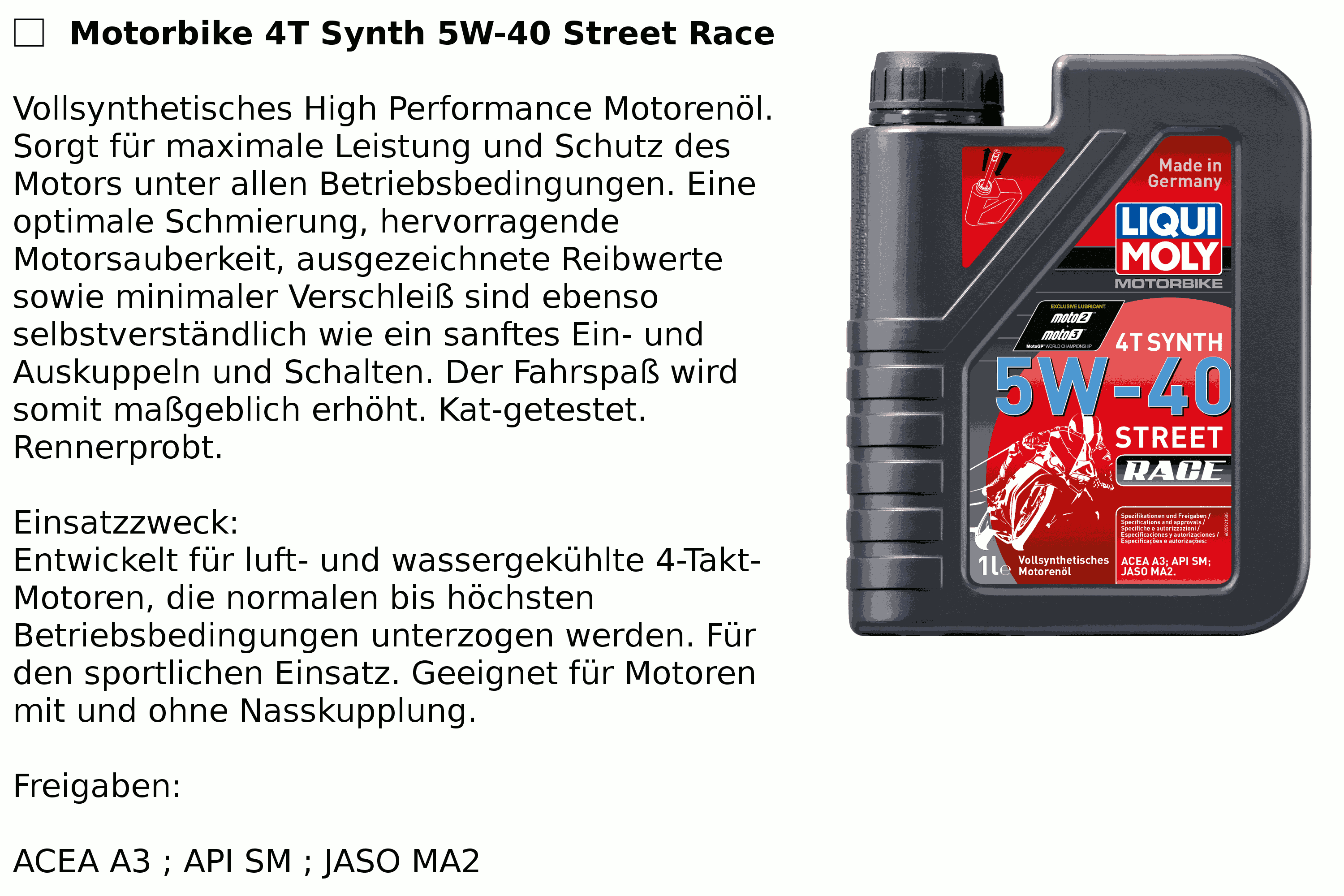 4T Synth. 5W-40 Race