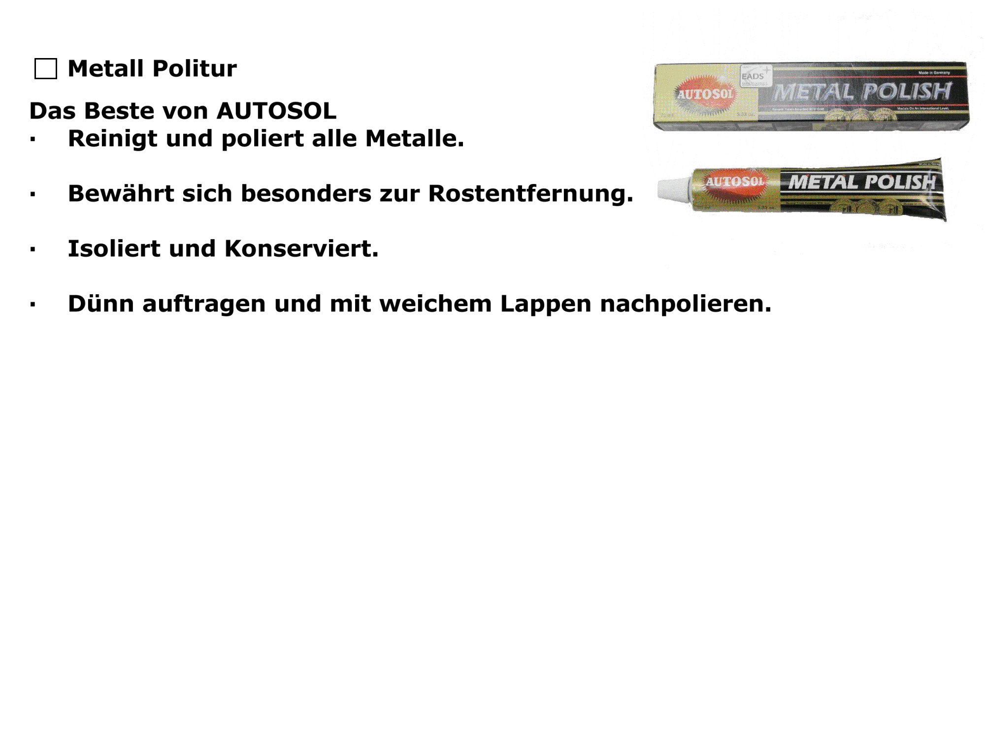 Metall-, Chrom Politur