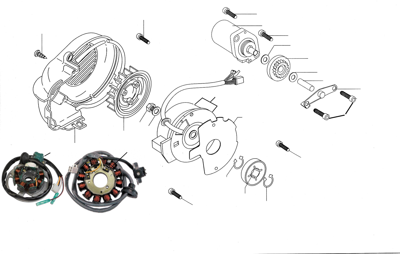 Lichtmaschine, Anlasser, Lüfterrad, Ölpumpenantrieb