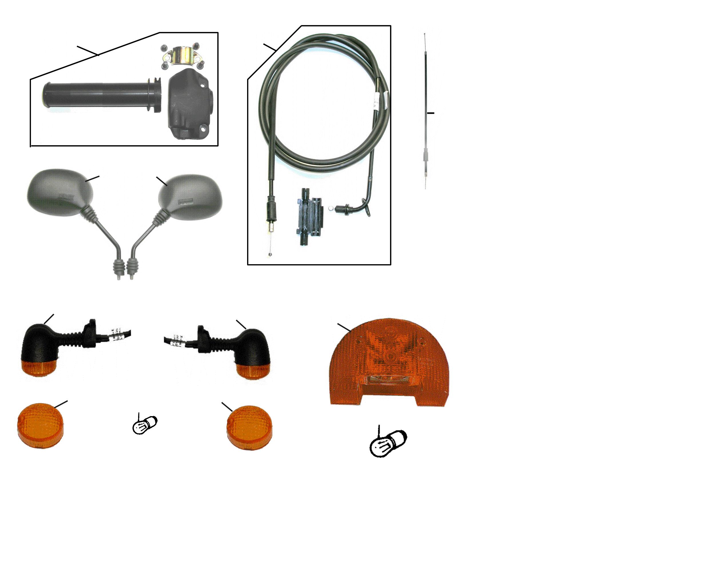 Gaszug, Gasgriff, Spiegel, Blinker