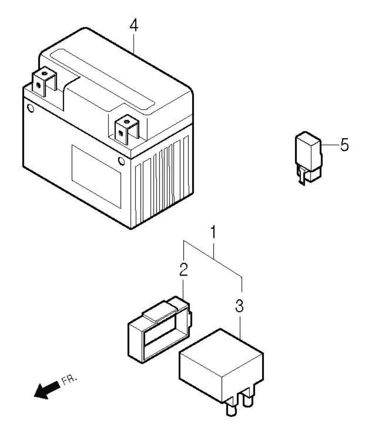 Batterie, Zündsteuergerät, Anlasserrelais