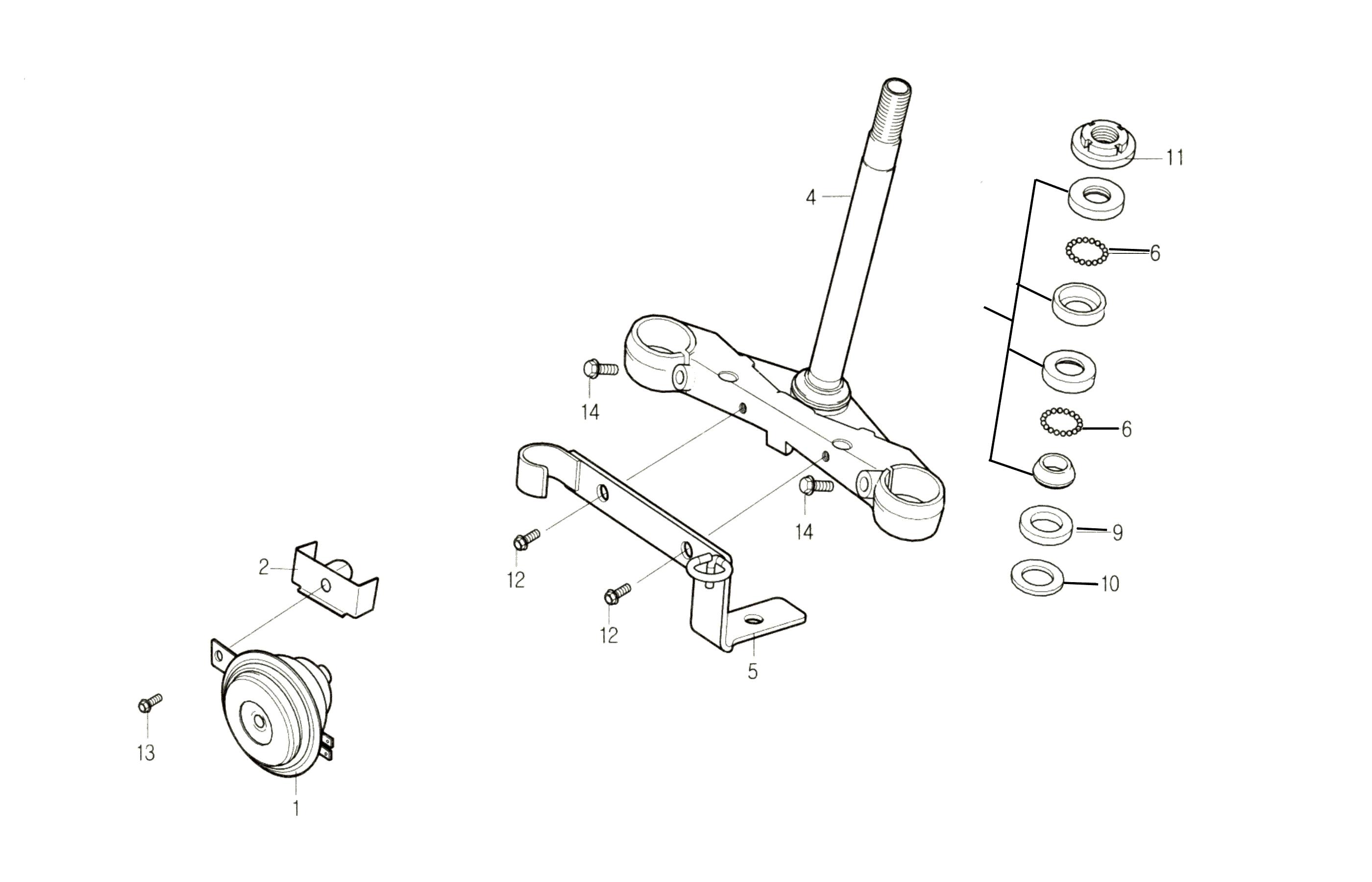 Lenkkopflager / Gabeljoch / Hupe