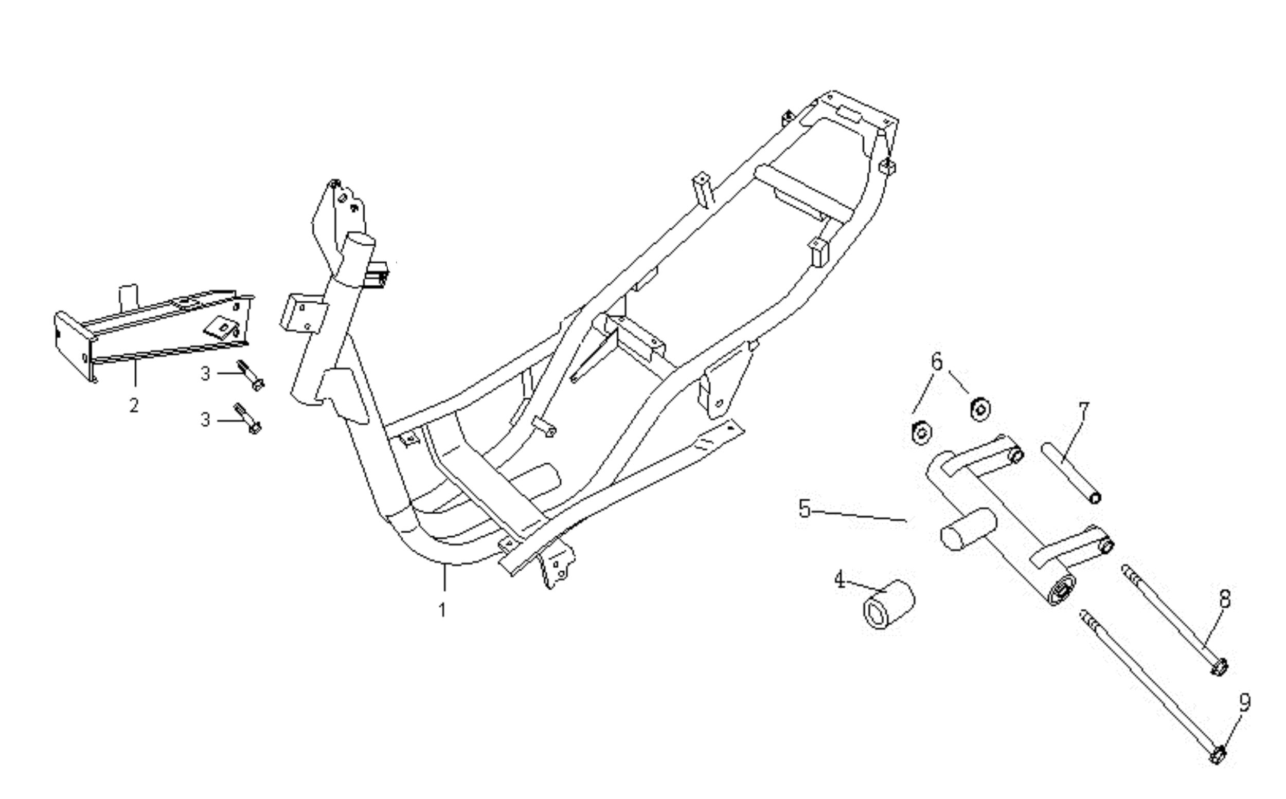 Rahmen, Motoraufhängung f. FZG m. 4-Taktmotor