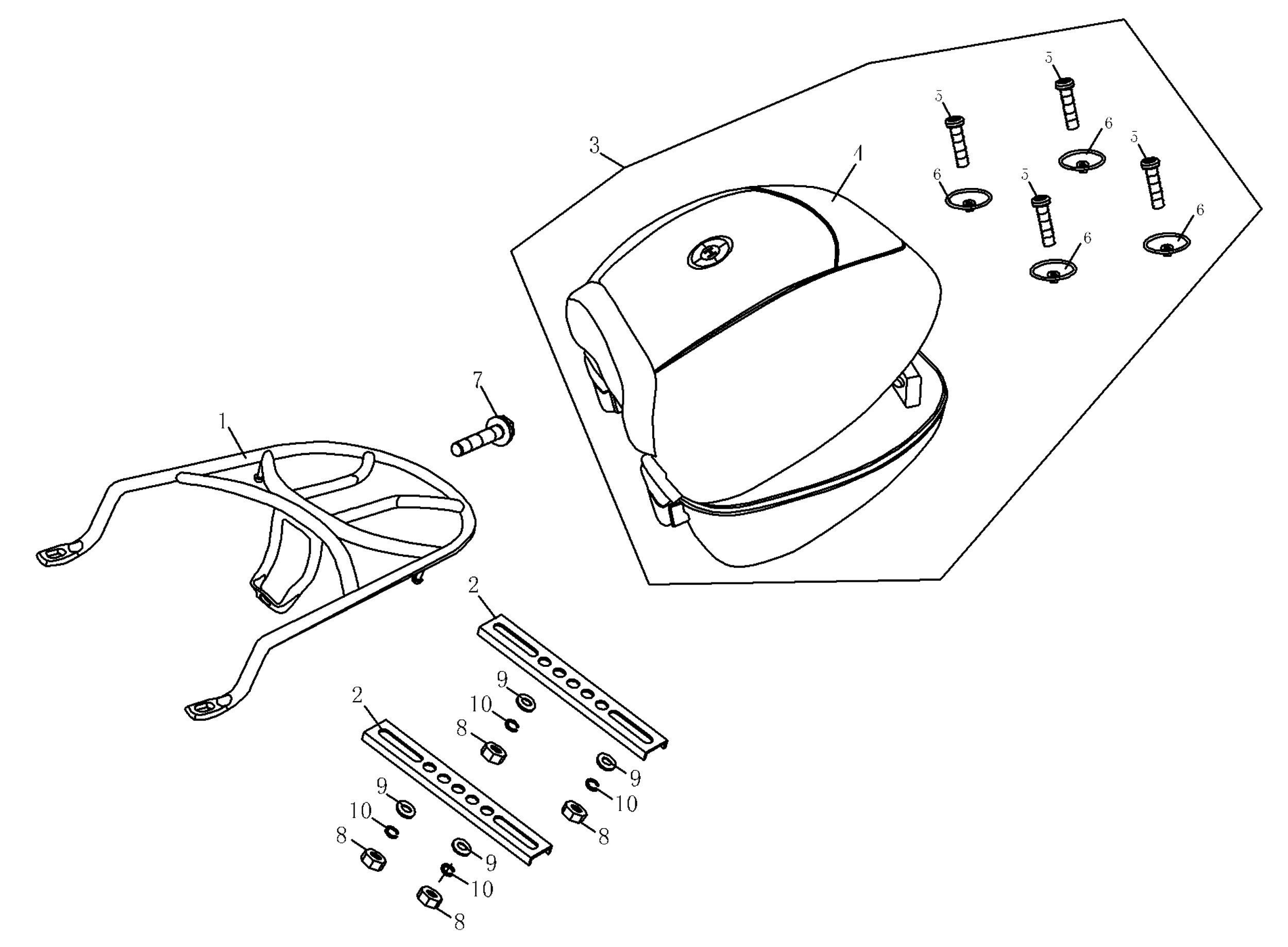 Gepäckträger, Topcase