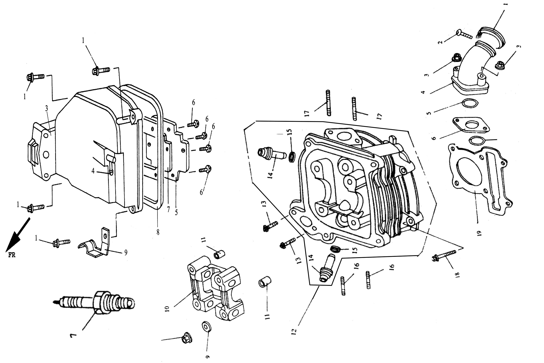 Zylinderkopf, Zündkerze, Ventildeckel