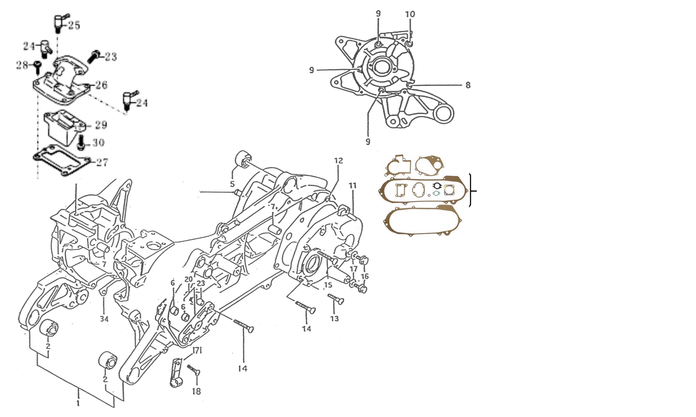 Motorgehäuse, Einlasslamelle