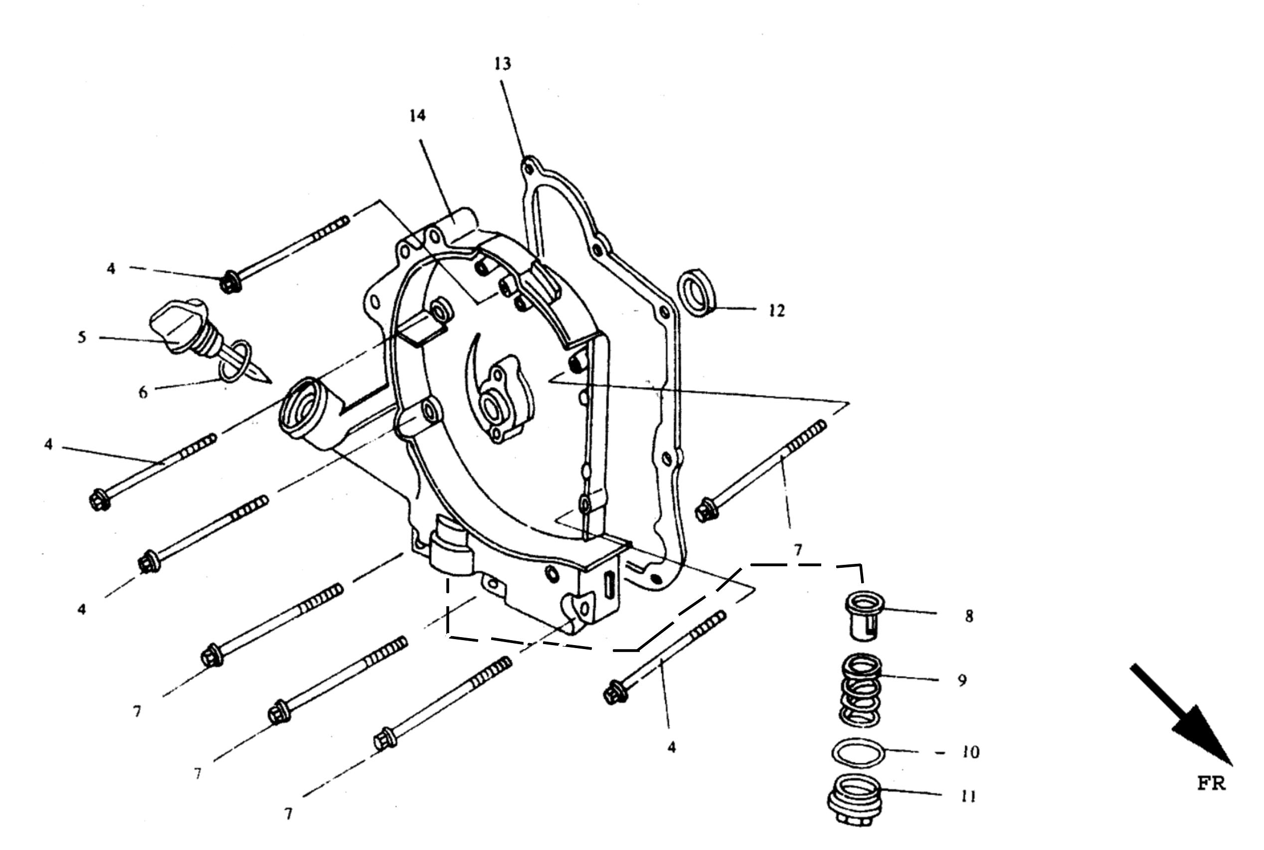 Gehäusedeckel rechts, Ölablassschraube