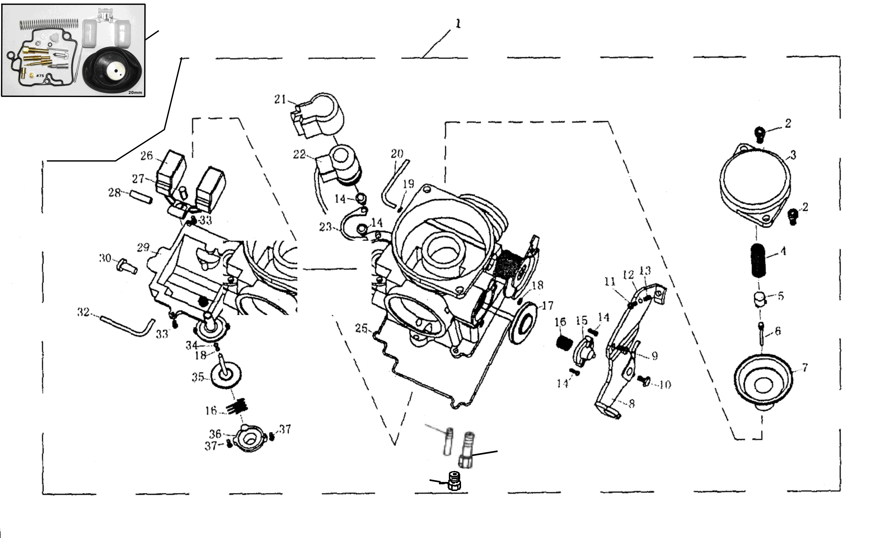 Vergaser DENI (m. Metalldeckel)