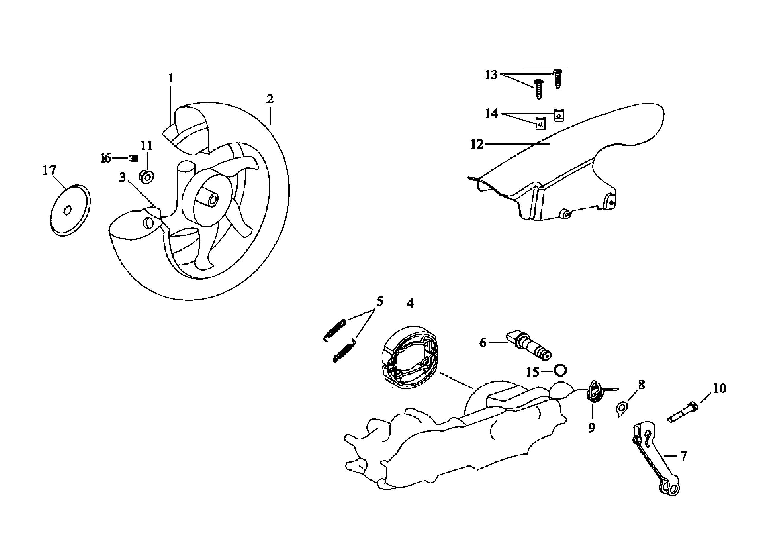 Hinterrad, Kotflügel, Bremse hinten