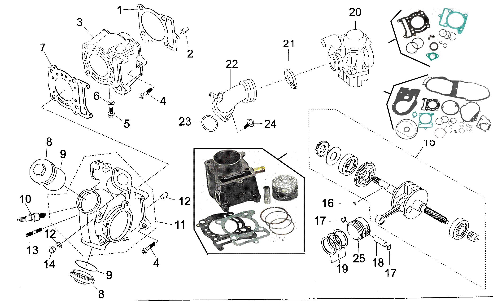 Zylinder / Zylinderkopf / Kurbelwelle / Vergaser