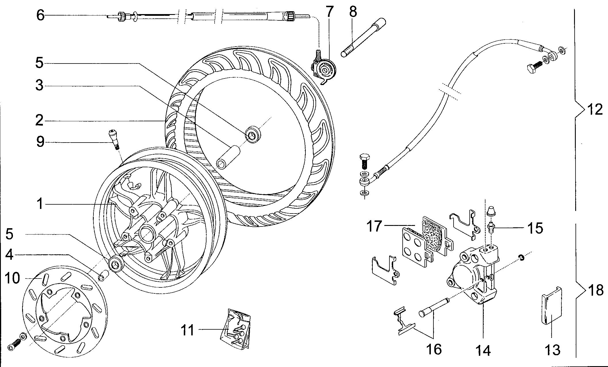 Vorderrad / Bremszange vorne