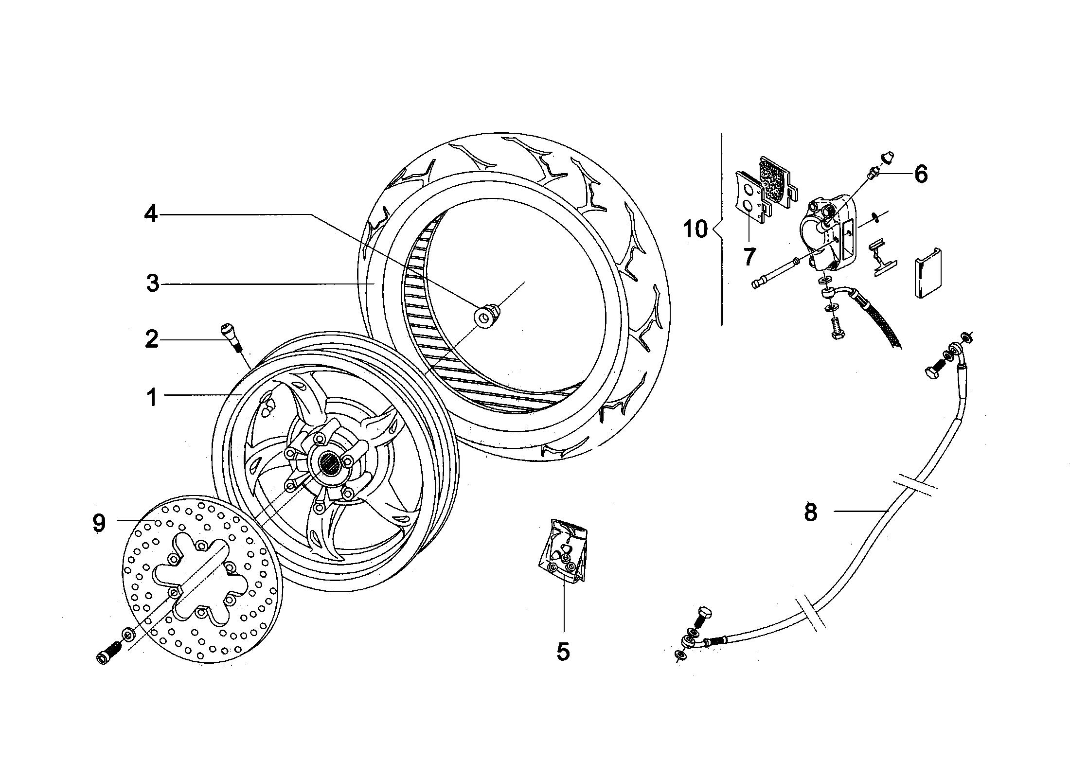 Hinterrad / Bremszange hinten