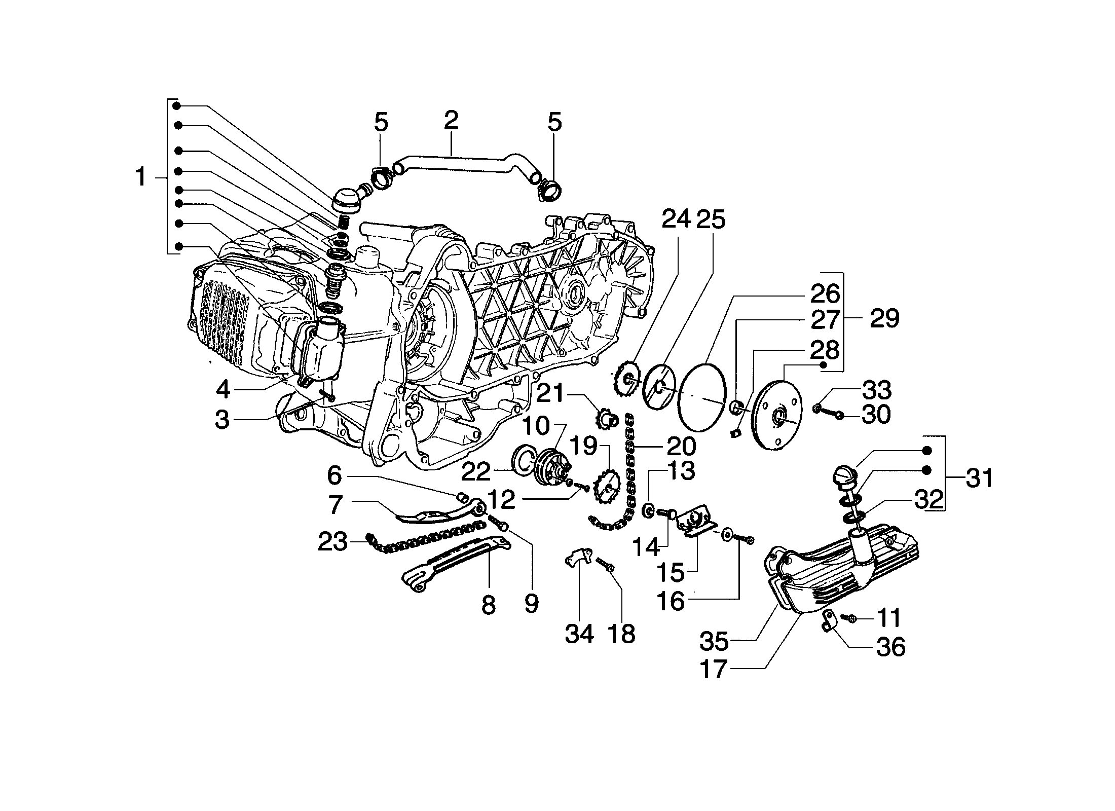 Ölpumpe/Antrieb/Entlüftung