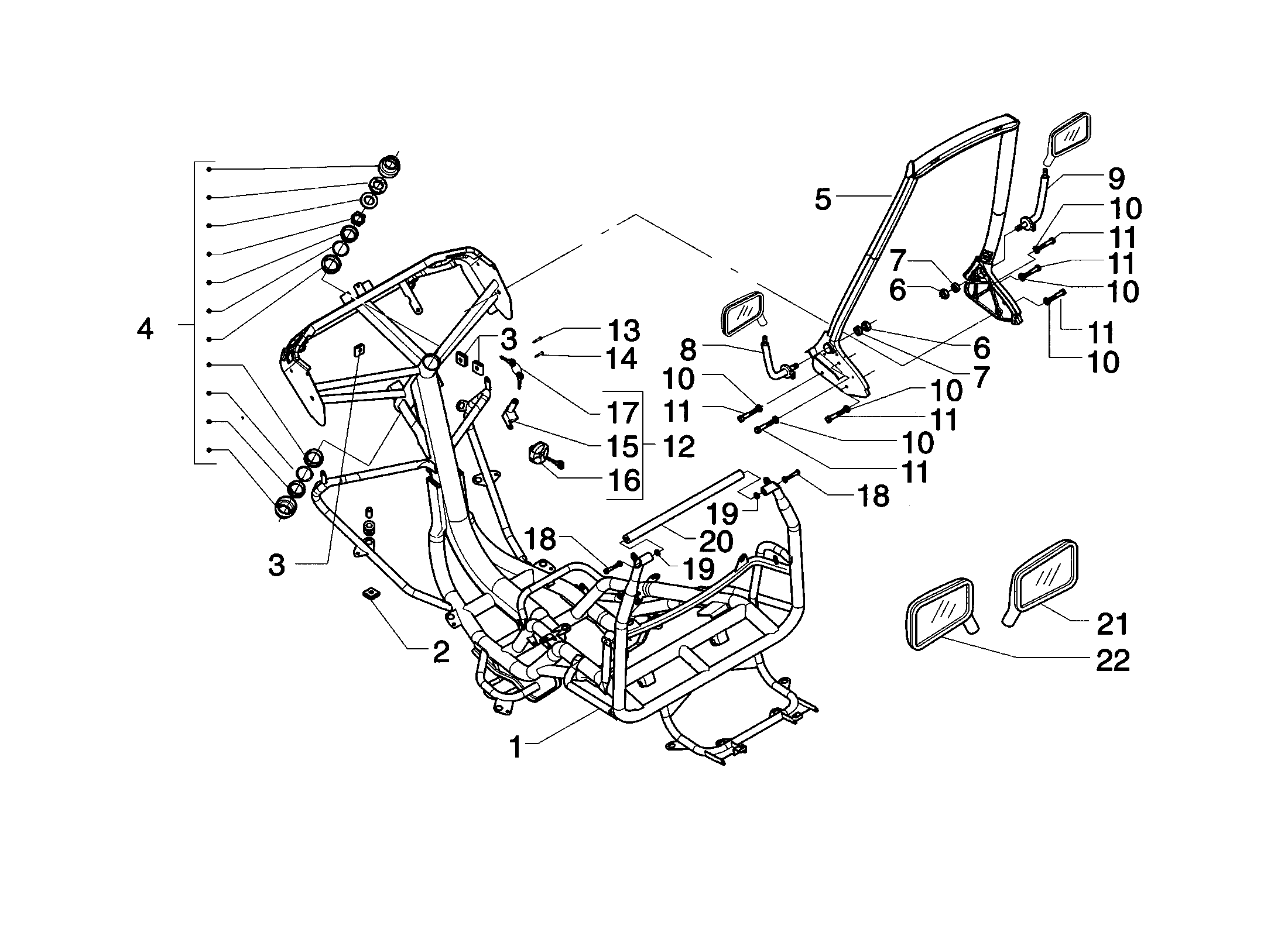 Rahmen / Rückspiegel / Zündschloss