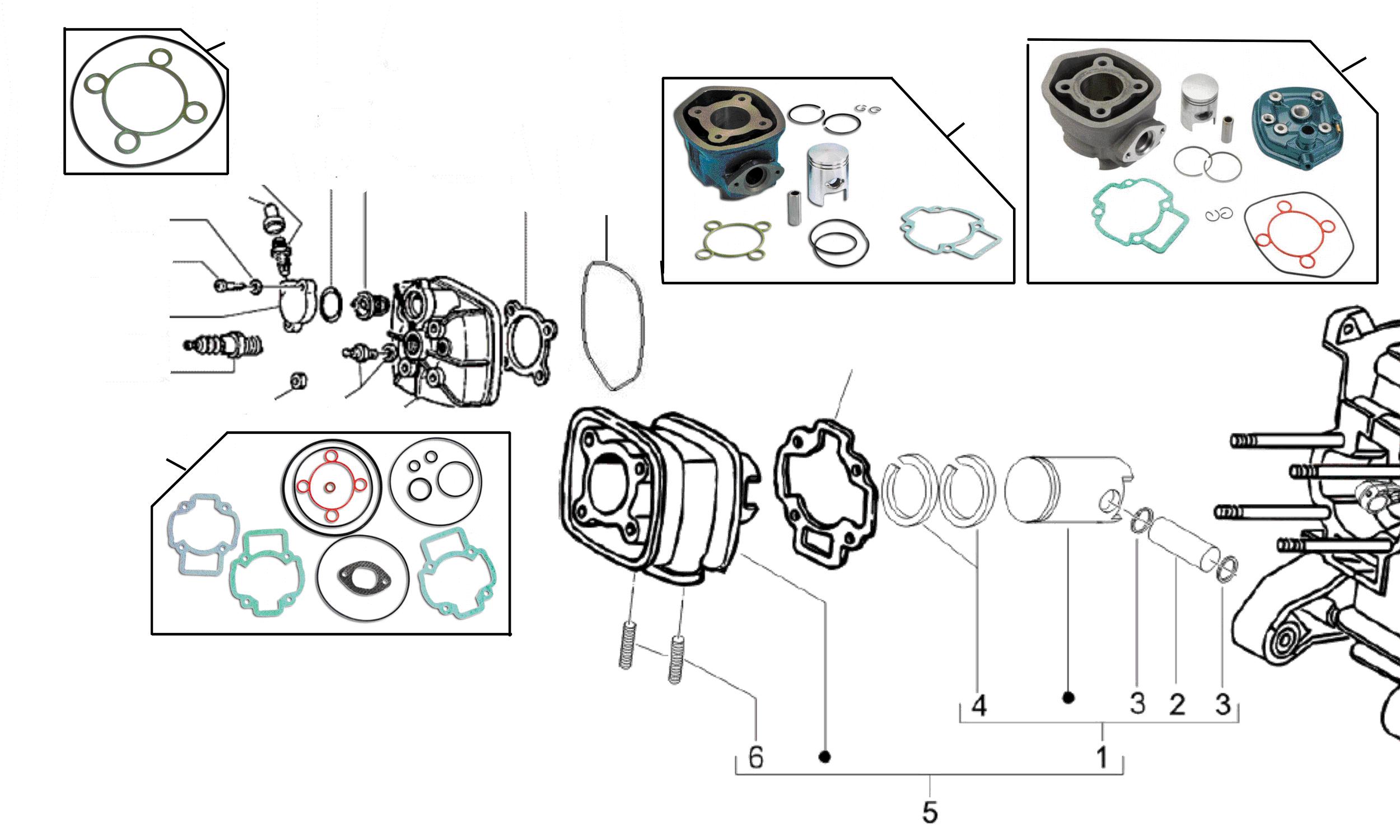 Zylinderkopf, Zylinder, Kolben