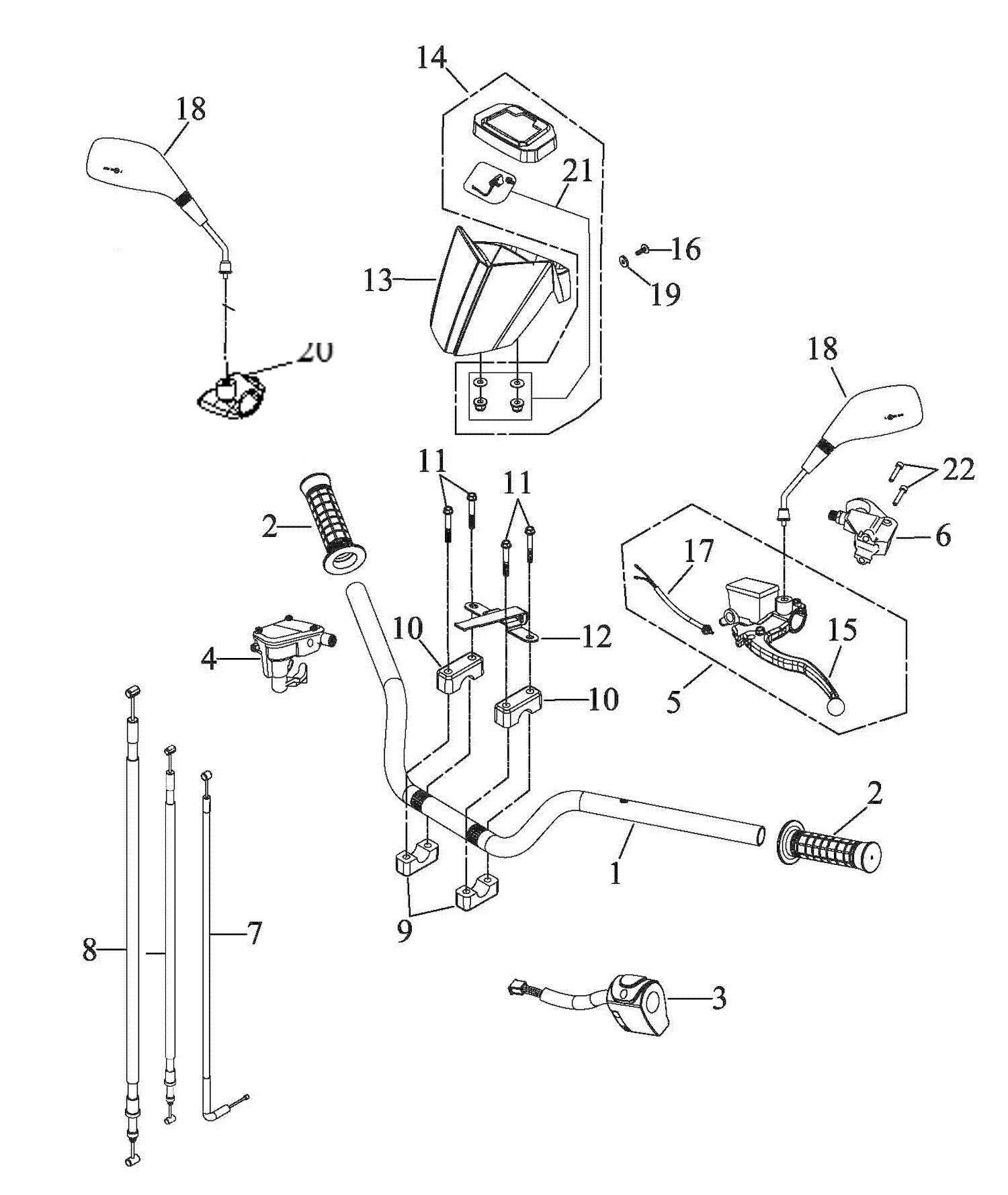 Lenker, Griffe, Schalter (single brake)
