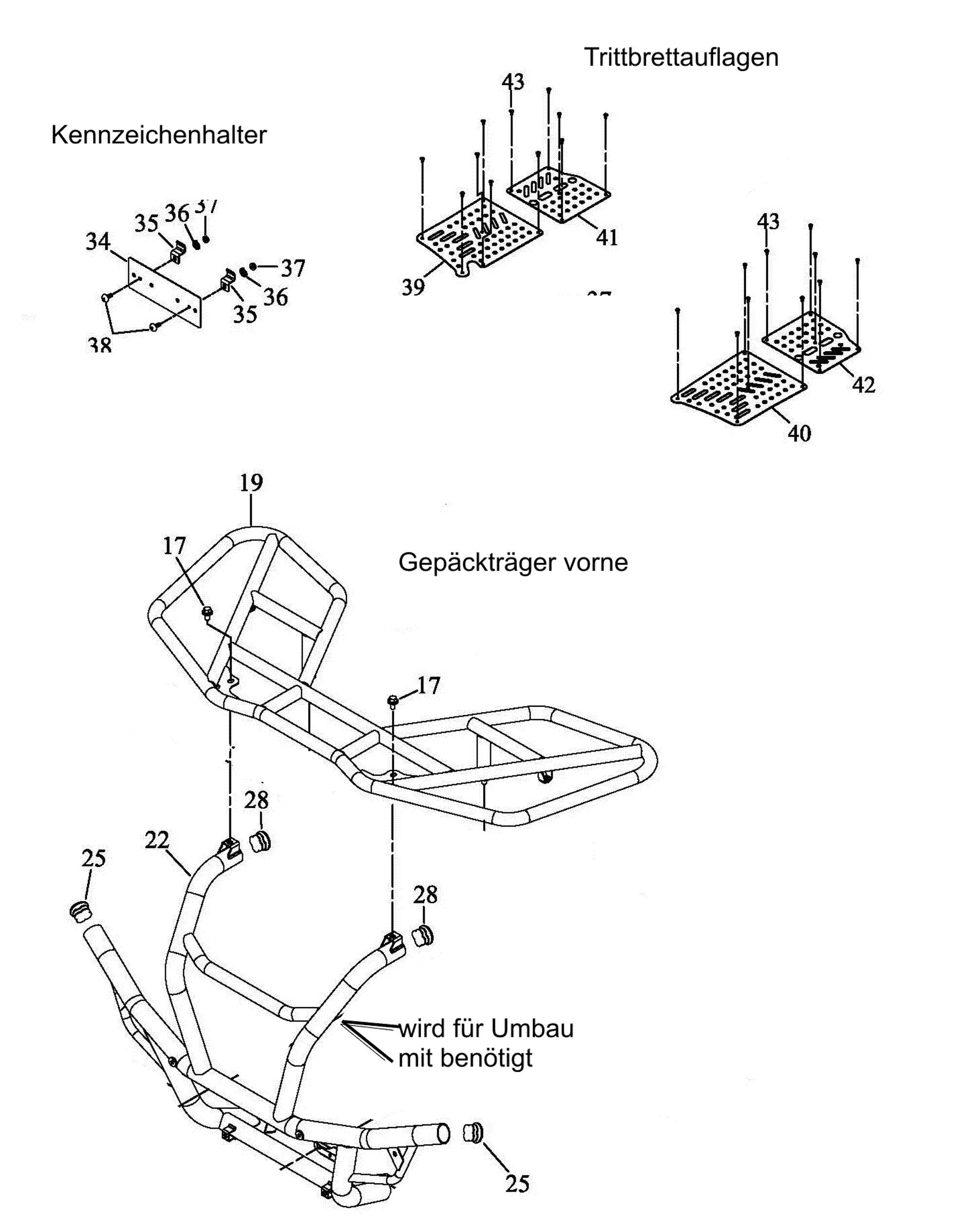 Gepäckträger vo., Trittbrettauflagen, Kennzeichenhalter