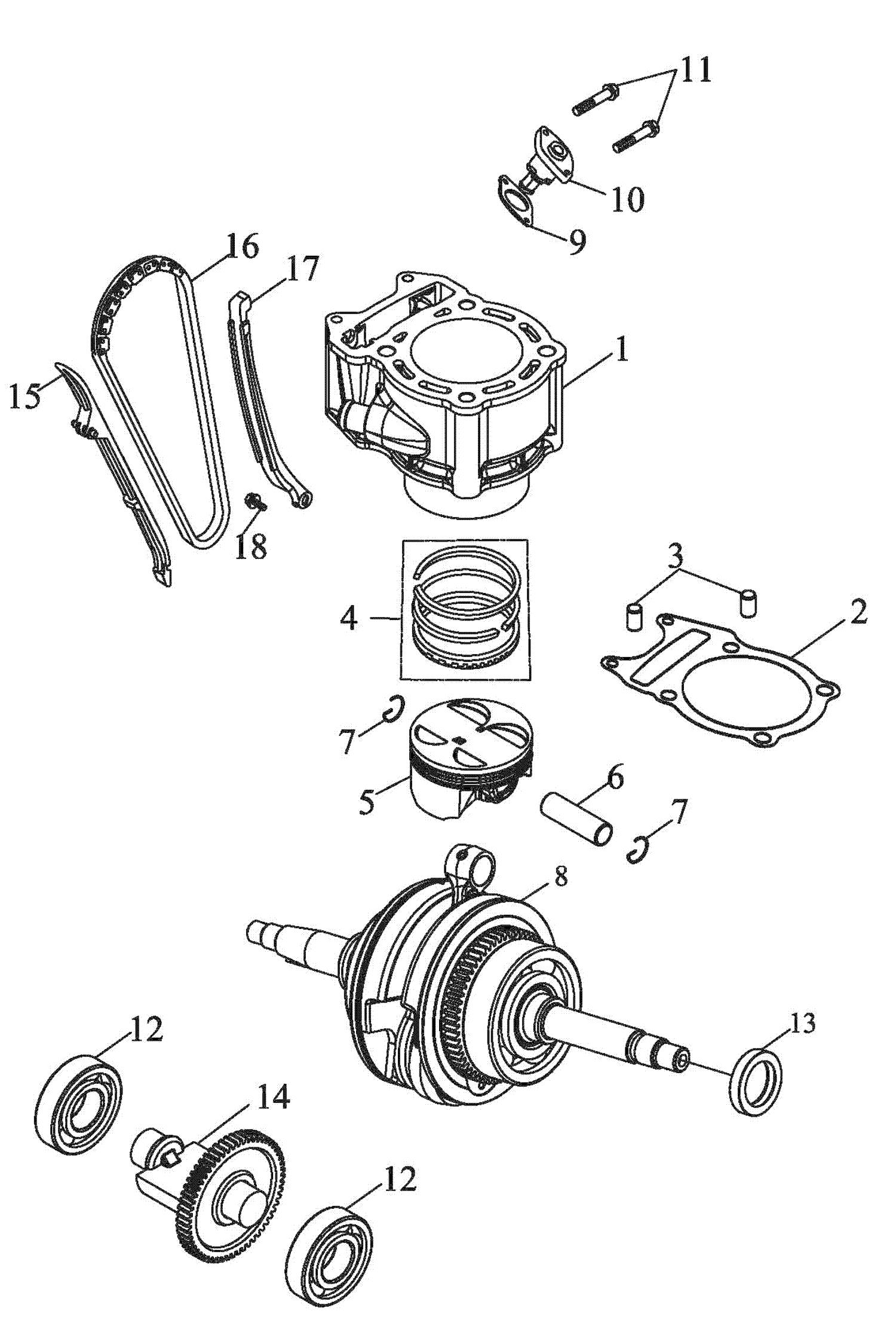 Zylinder, Kolben, Kurbelwelle