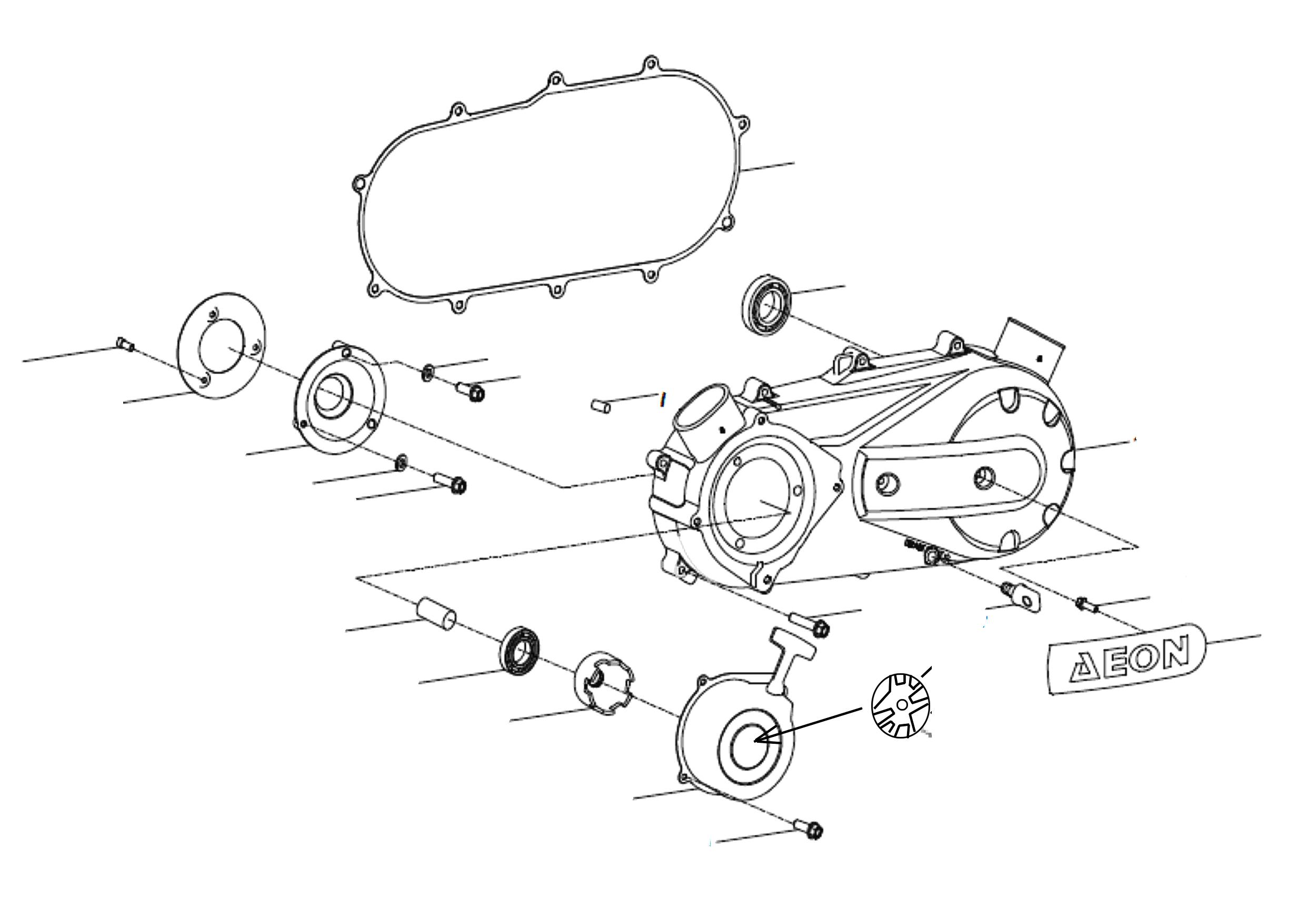 Motorgehäusedeckel links