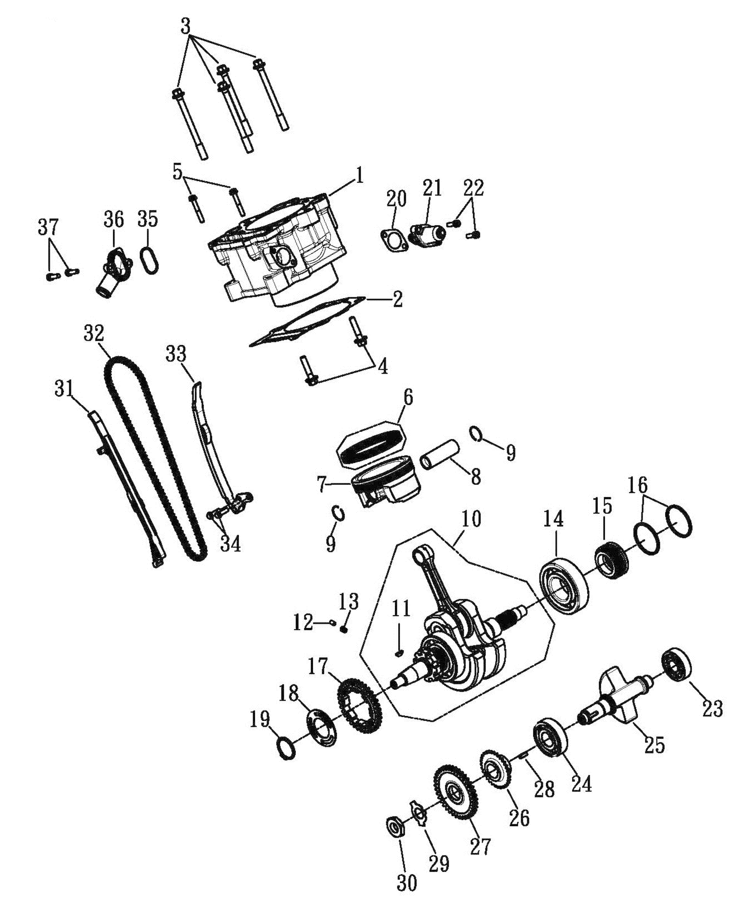 Zylinder , Kolben , Kurbelwelle