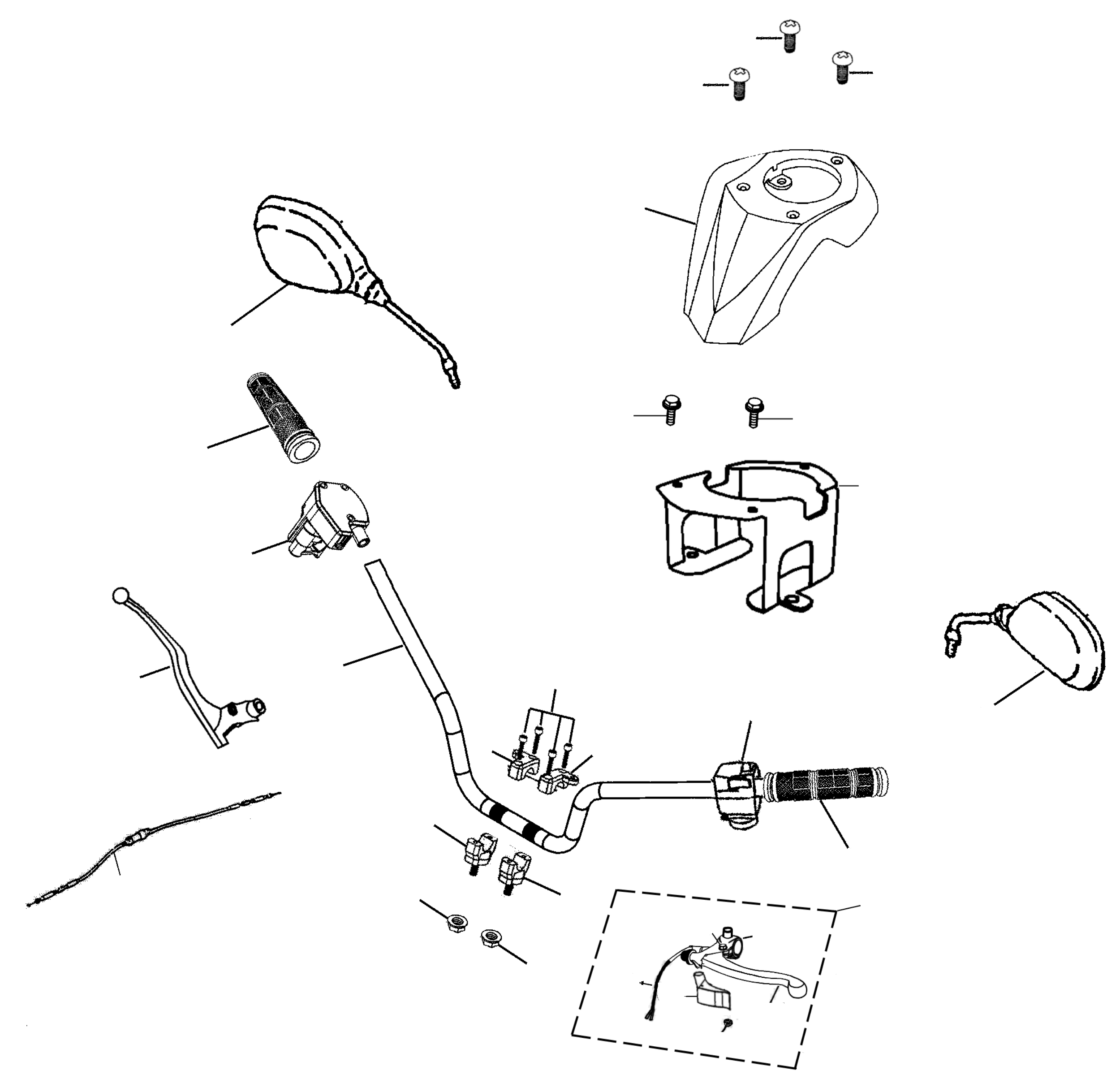 Lenker, Spiegel, Schalter, Hebel, Züge, Cockpit