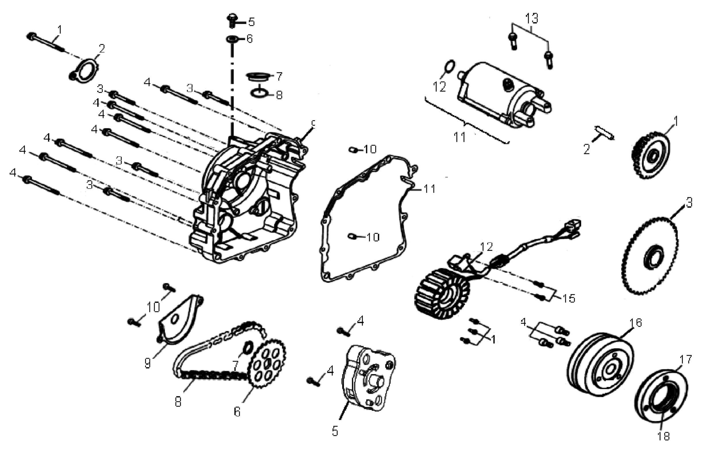 Anlasser / Lichtmaschine / Ölpumpe / Gehäusedeckel links