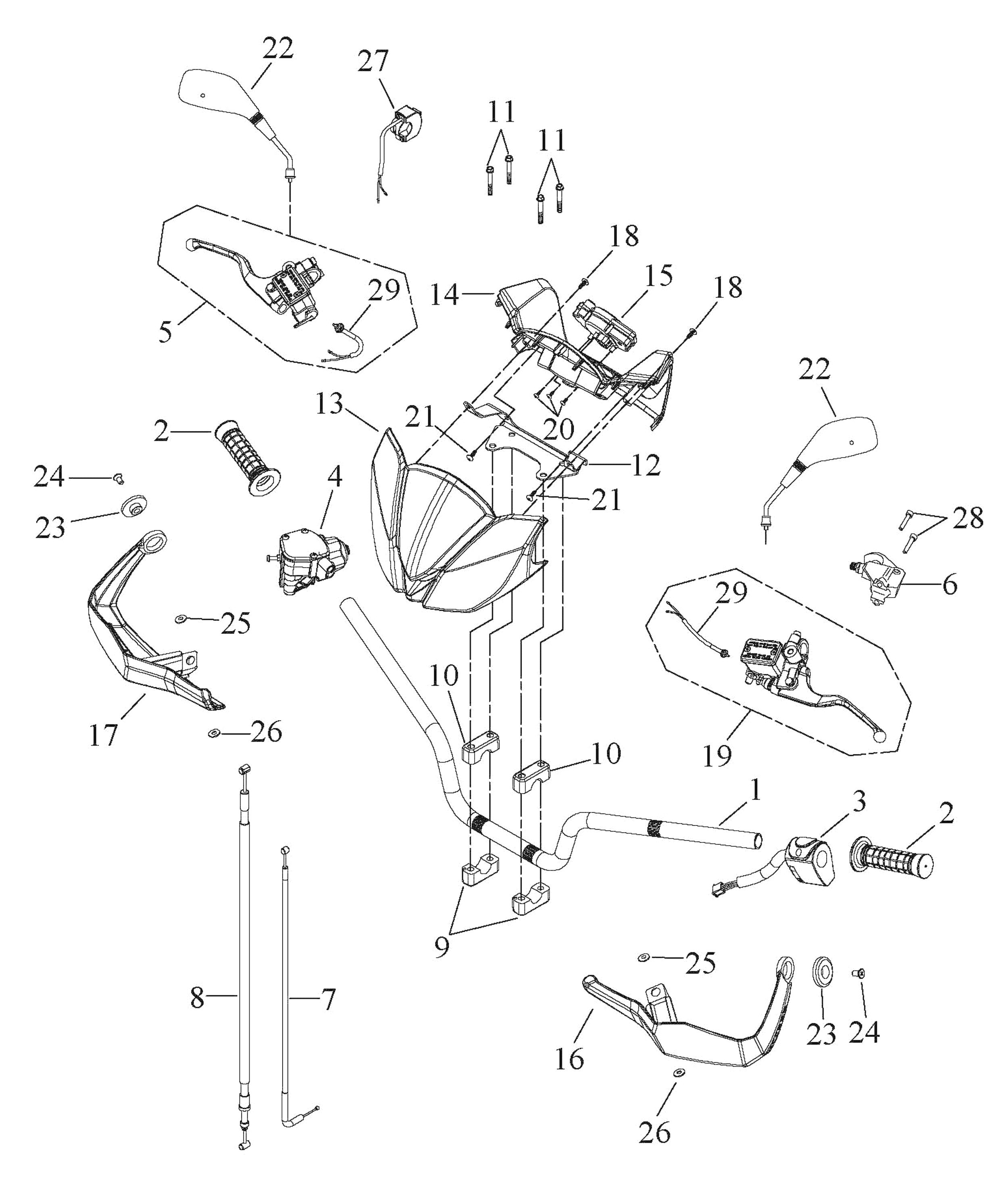 Lenker, Schalter, Spiegel, Cockpit, Züge