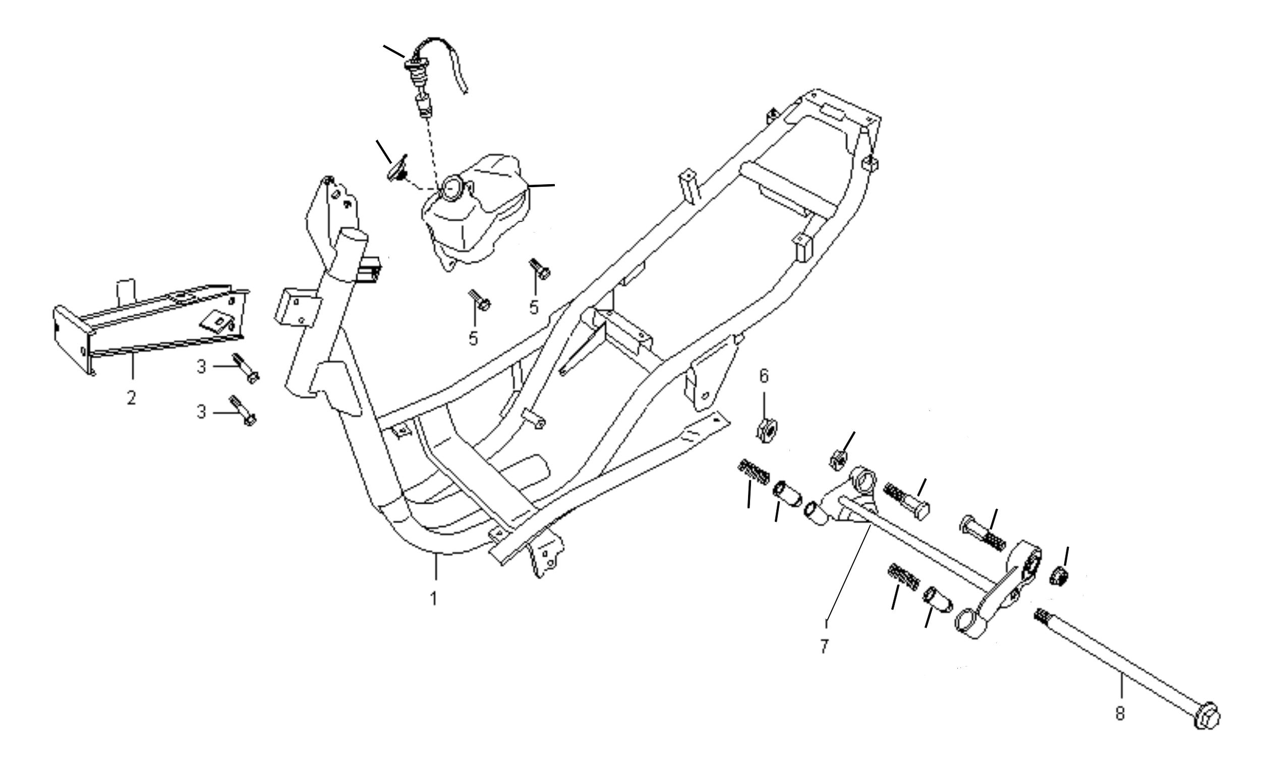 Rahmen, Öltank, Motoraufhängung f. Fzg. m. 2-Taktmotor
