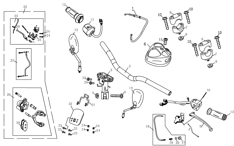 Bremse vorn, Lenker, Griffe, Schalter, Spiegel