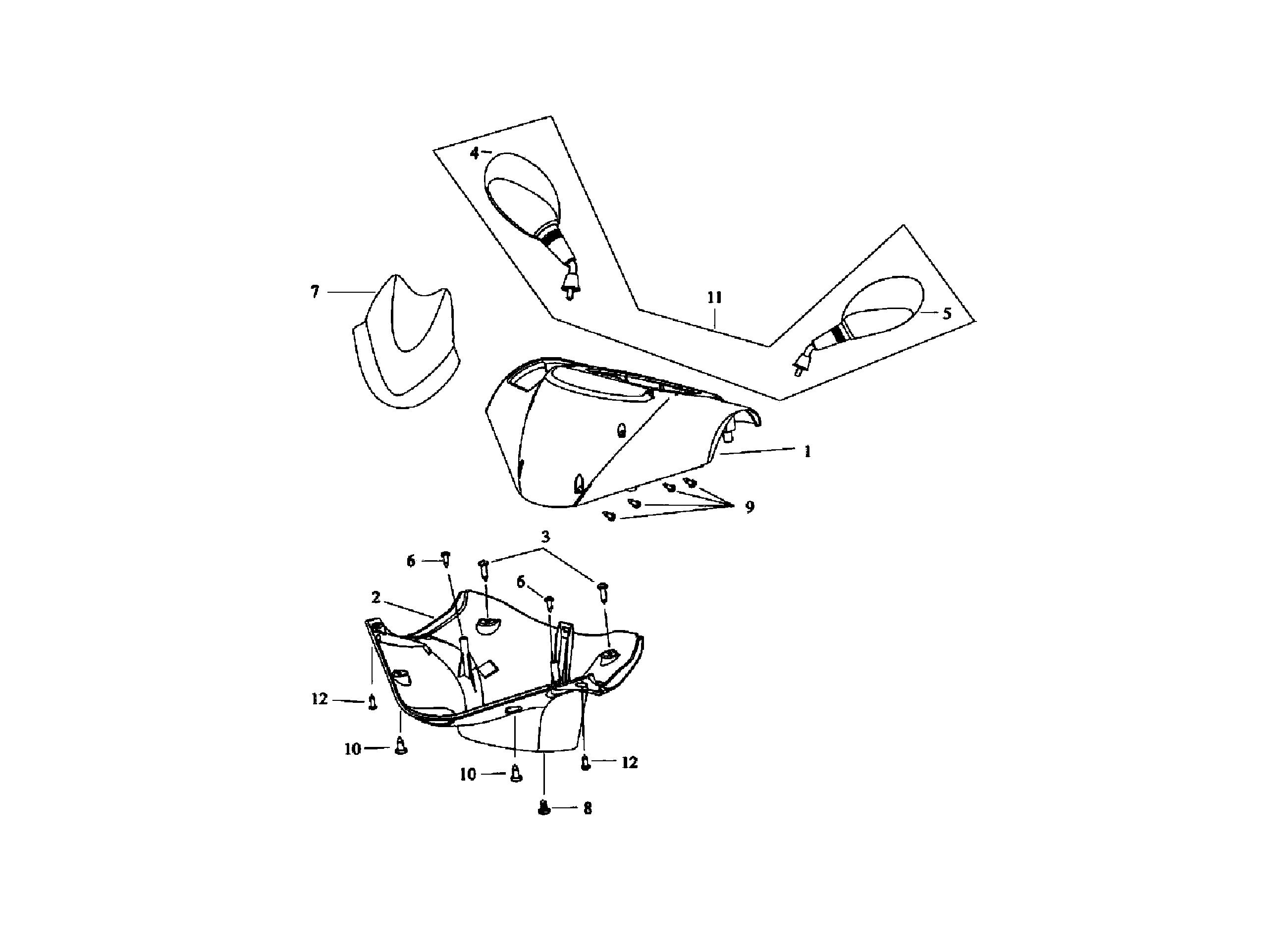 Lenkerverkleidung / Spiegel