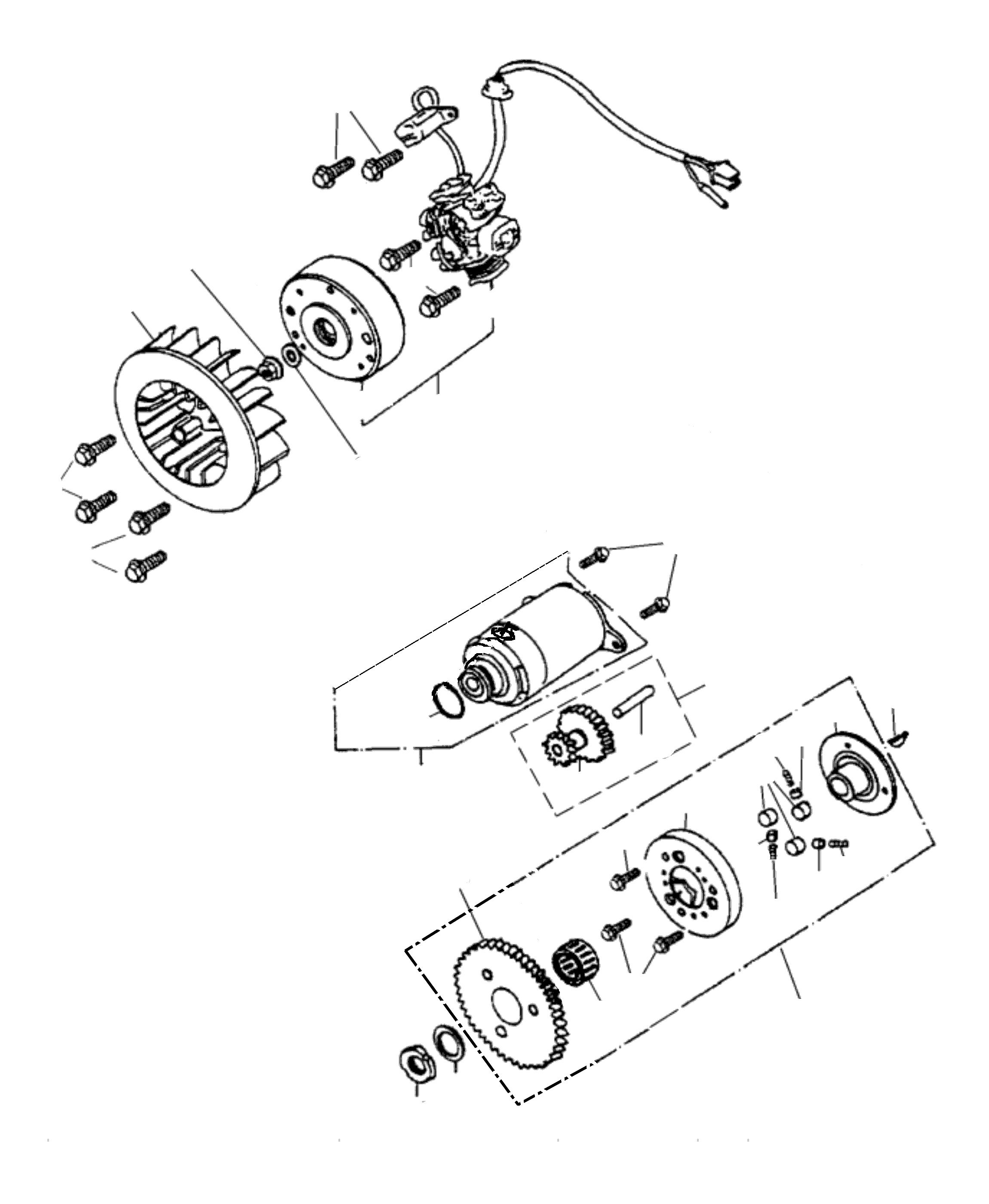 Lichmaschine, Anlasser, Freilauf