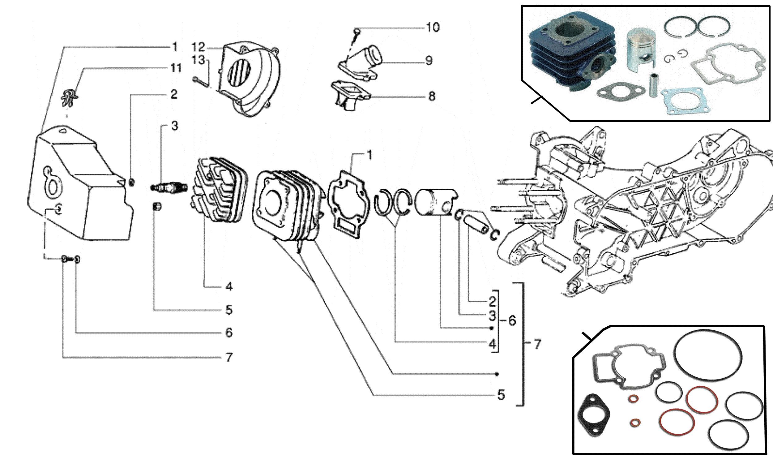 Zylinder, Kolben, Zylinderkopf, Gebläsehaube