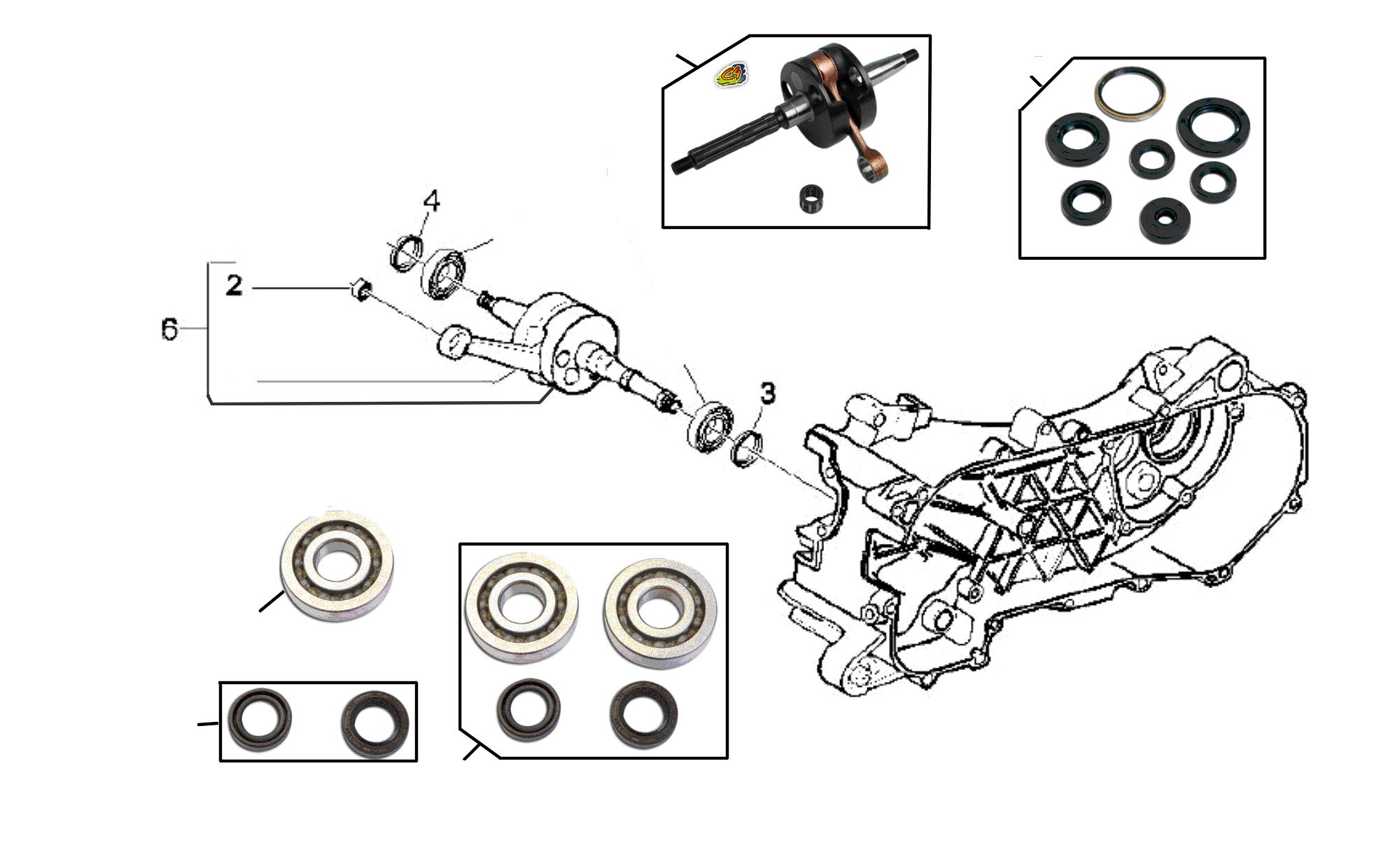 Wellendichtring Satz Motor Aprilia SR 50 Street Piaggio Motor