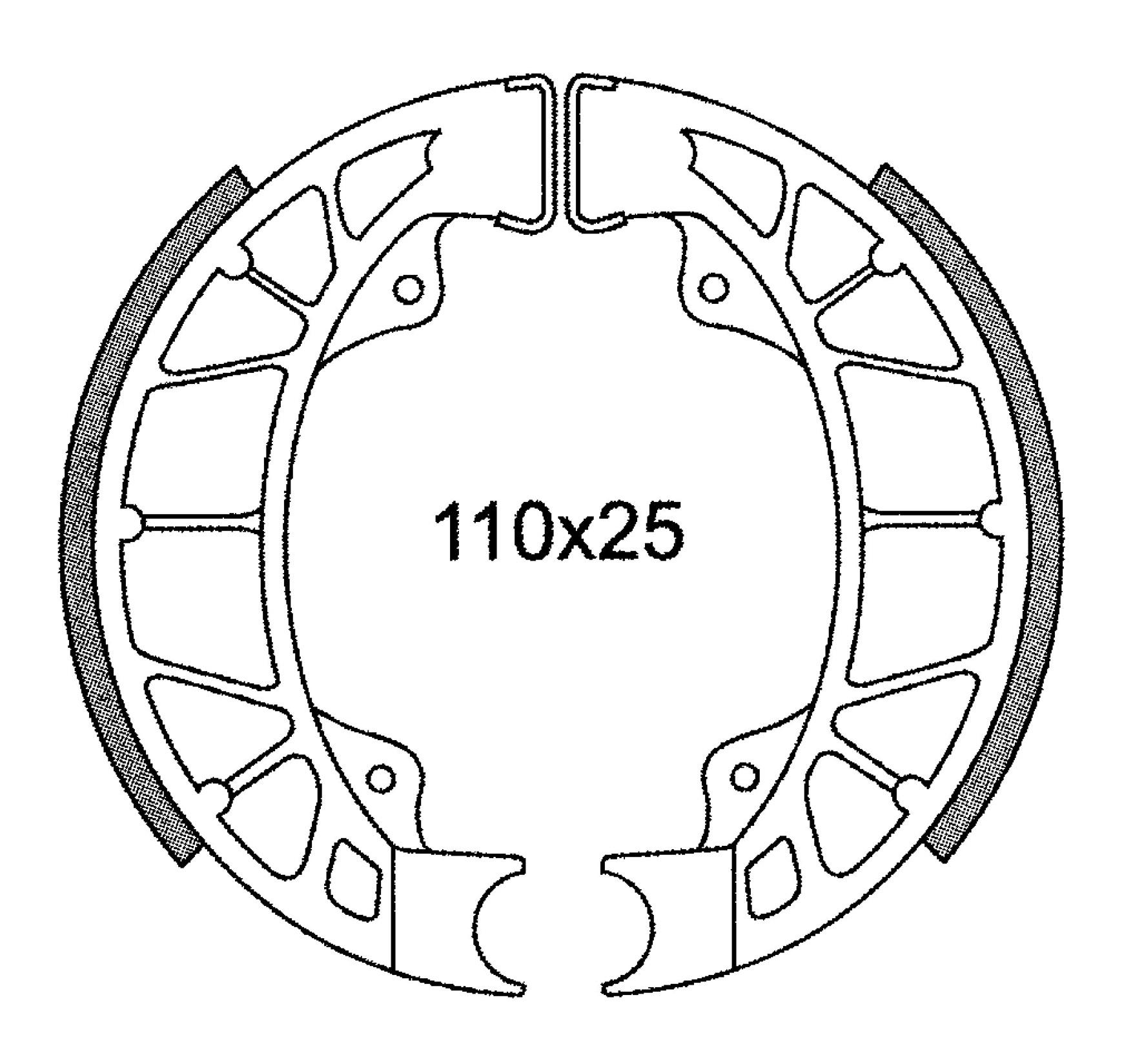 Bremsbacken Satz 110x25 C4 ohne Nut