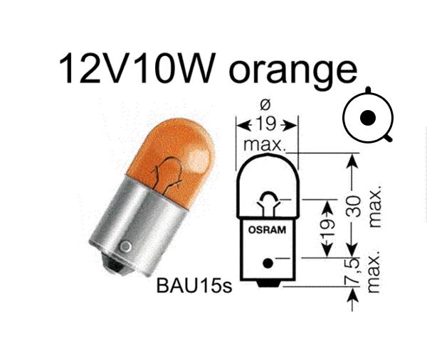 Birne 12V 10W gelb Zapfen versetzt 45°