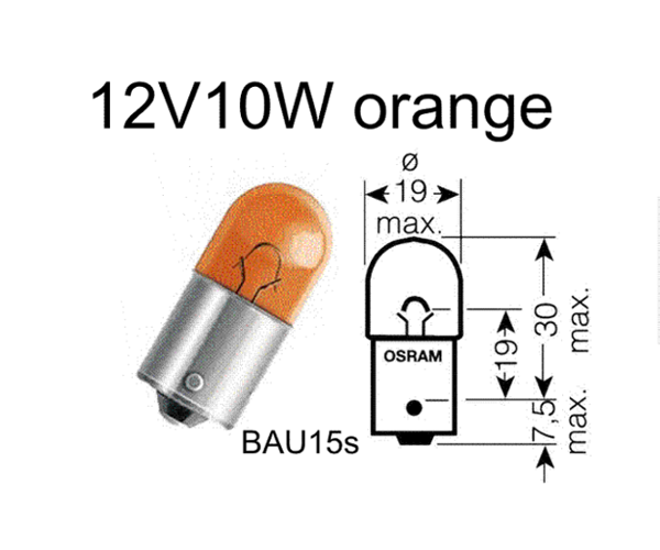 Birne 12V 10W orange Zapfen 180°