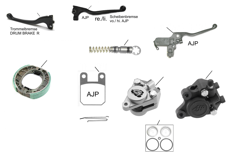Bremshebel, -Pumpe, - Beläge, -Sattel