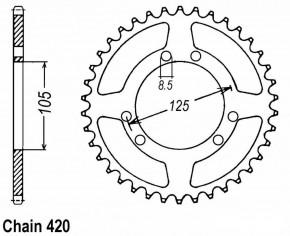 Kettenrad 56 Zähne f. 420er Kette ID 105mm