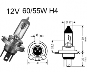 Birne H4 12V60/55W